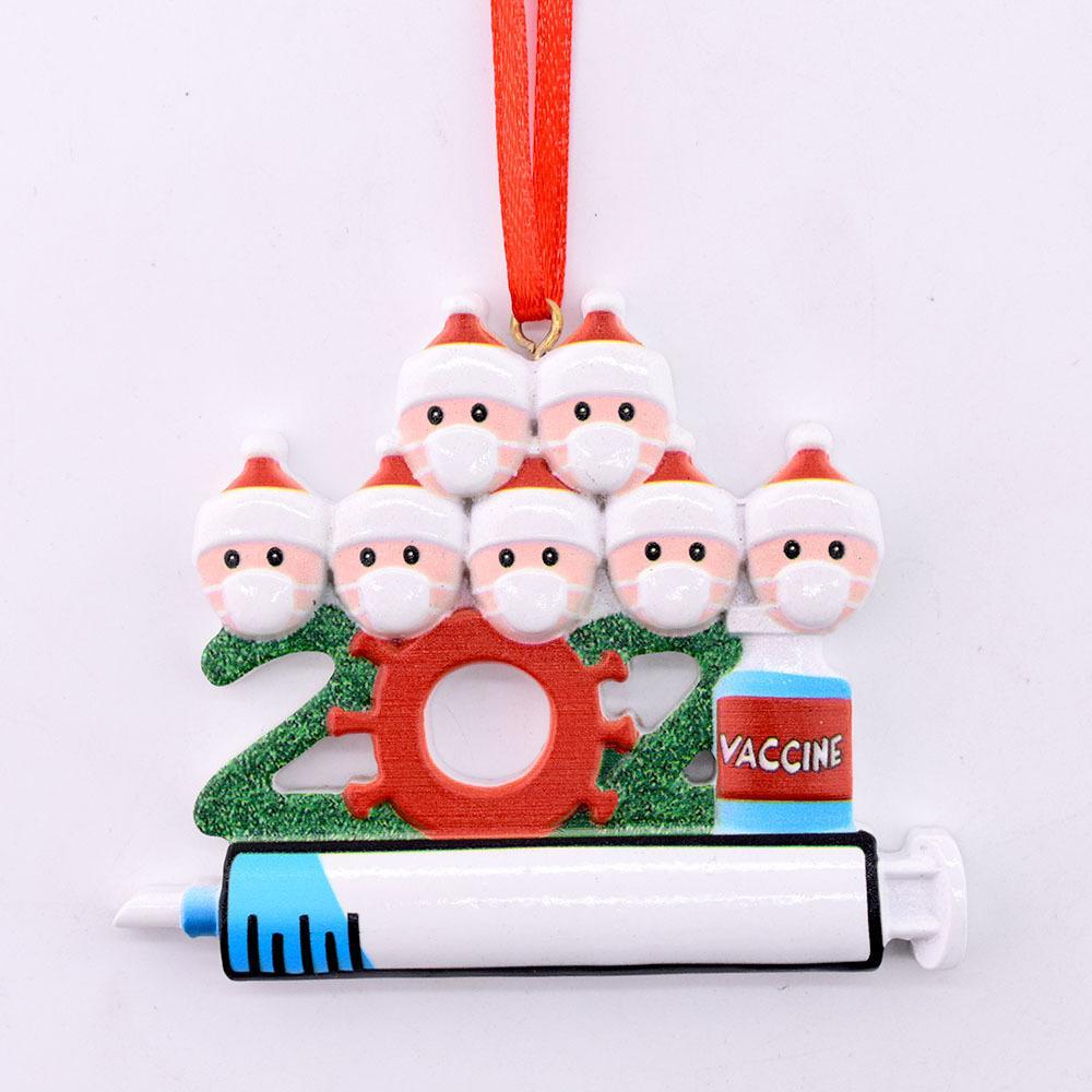 Decoração de Natal de quarentena personalizada ornamento de suspensão diy com corda plástica Papai Noel pingente de distancia social