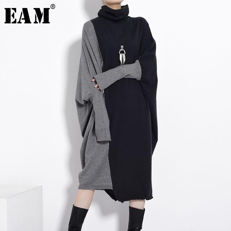 [EAM] Kadınlar Siyah Gri Örme Büyük Boy Uzun Elbise Yeni Balıkçı Yaka Uzun Kollu Gevşek Fit Moda Gelgit Sonbahar Kış 2021 1D67501 210303