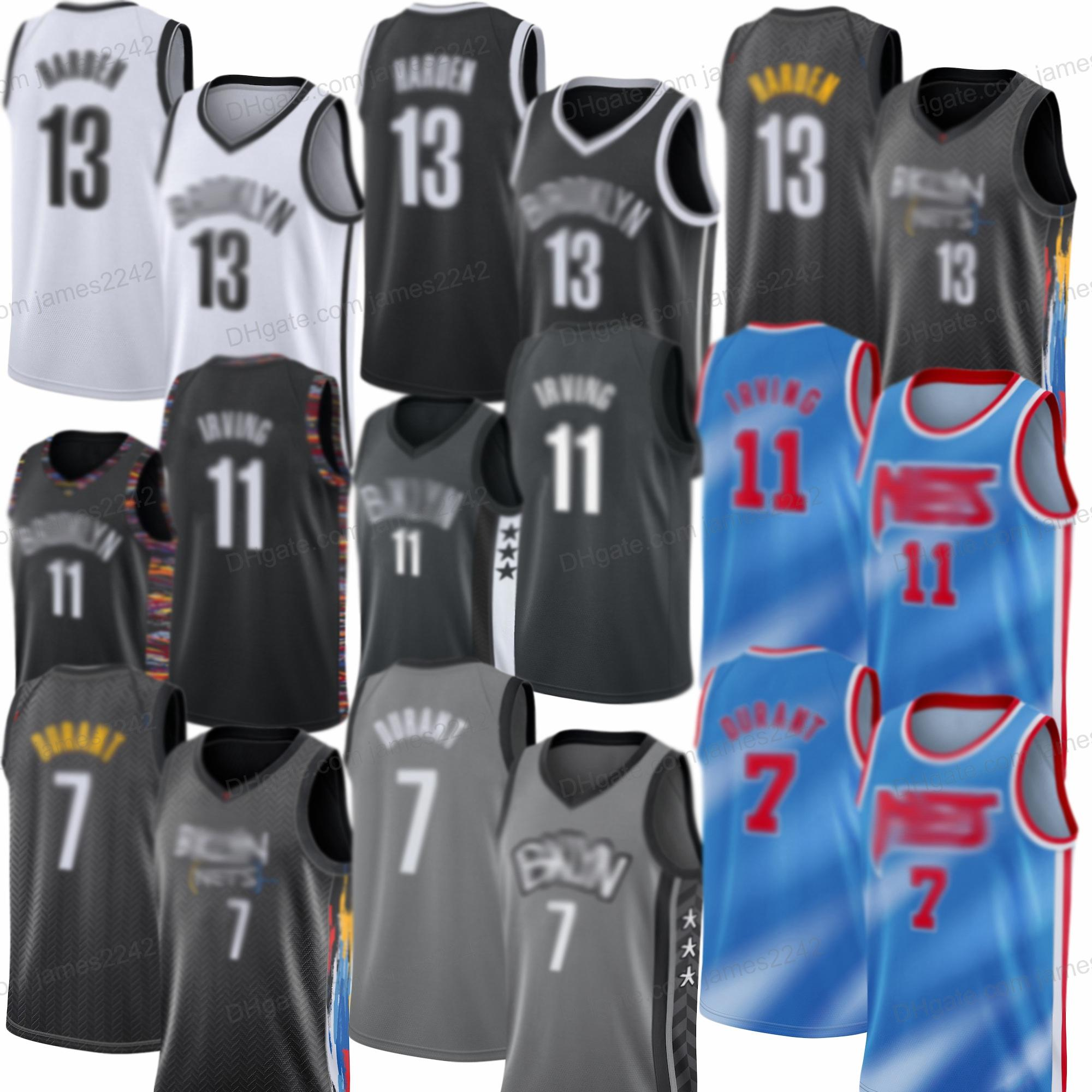 Nouveaux pas chers 13 Harden Kyrie 11 Mens Nett 2021 Kevin Neuf 7 Durant Brookllyn Jersey Basketball Jersey Coutsed Livraison Gratuite