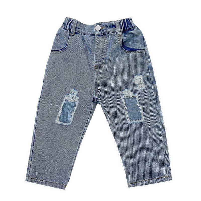 Delik Kızlar Kot Denim Çocuk Kot Bahar Yaz Erkek Kot Rahat Yumuşak Kızlar Pantolon Çocuklar Pantolon Kız Giysileri Çocuk Giyim 2-7Y B4185