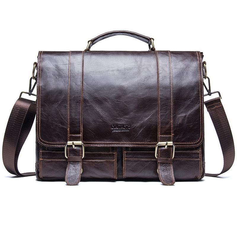 Porte-documents Hommes Véritable Cuir Business Sac à main pour ordinateur portable Casual Grand sac à bandoulière Vintage Sacs Messenger Sacs de luxe Bolsas