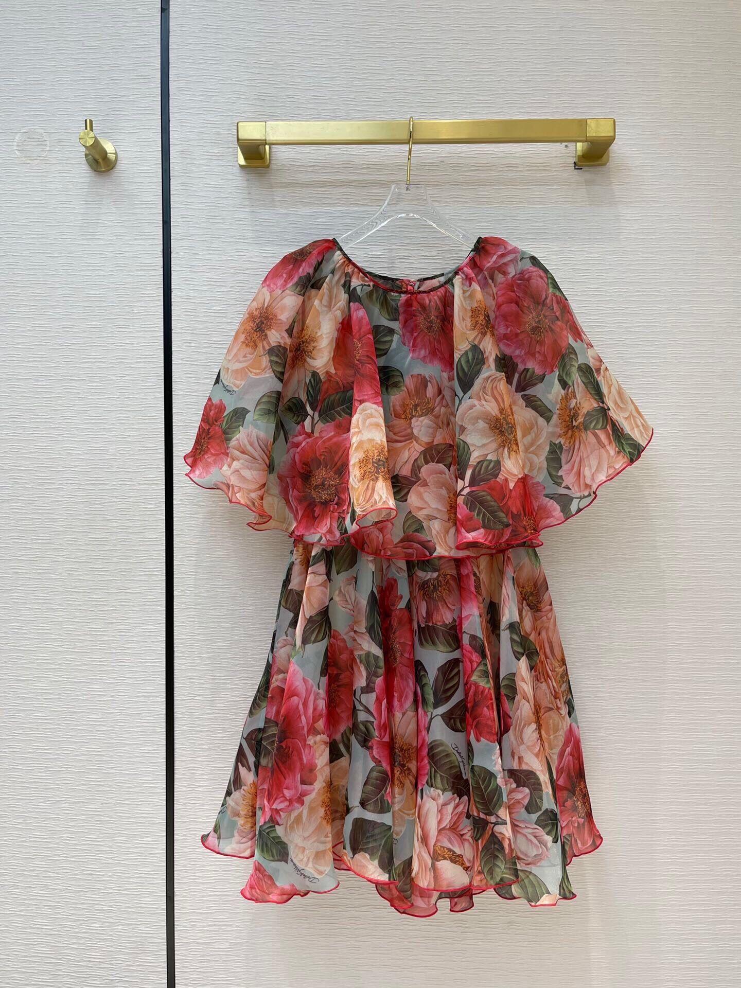 2021 novo verão mulheres vestido de seda impressão vermelho floral qualidade superior sicília linda pista de luxo a linha curta vintage império rsa8