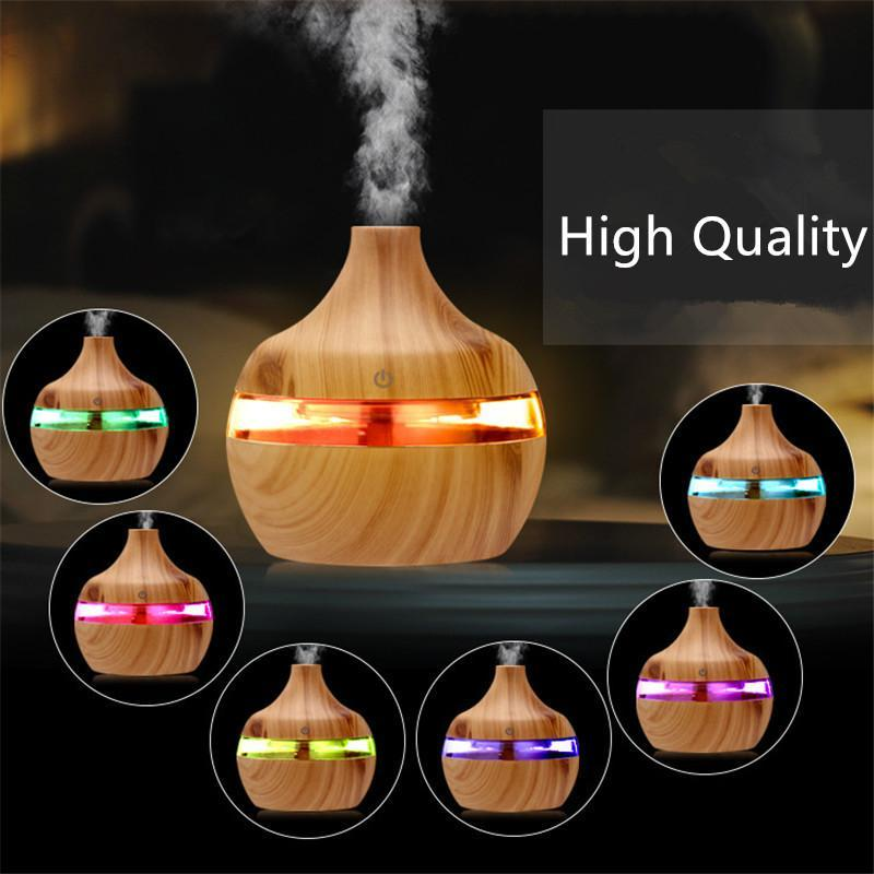 Электрический увлажнитель ОСНОВНЫЙ аромат нефтяной диффузор ультразвуковой древесины воздуха увлажнитель воздуха USB мини-мейкер Mist Maker светодиодный свет для