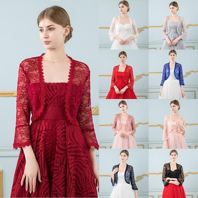 Wraps & Jackets Red Lace Wedding Top Jacket Bridal Shrugs For Women Evening Dress Bride Bolero Cape De Mariage Accessories