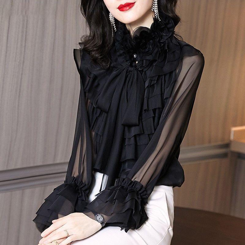 Polos de mujer Mujer Malla de malla Sheer Blusa de manga larga Moda superior 2021 Camisa de gasa con volantes retro Femenino Blusas