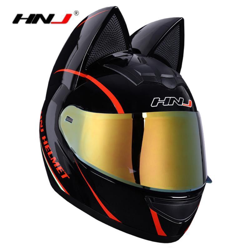 Motorradhelme HNJ Helm Frauen Moto Ohr Persönlichkeit Full Face Motorrad 4 Farben Rosa Gelb Schwarz Weiß