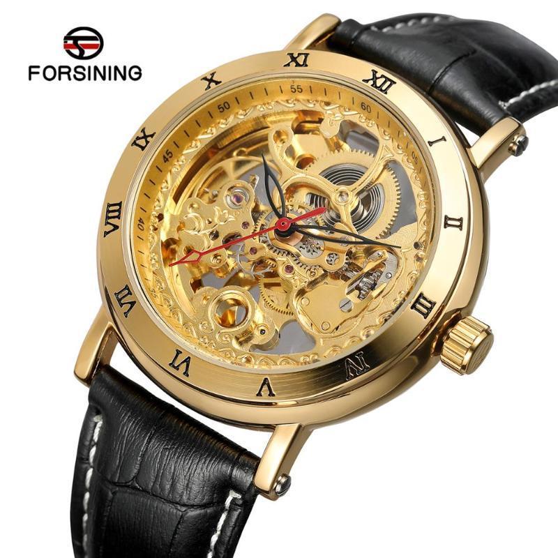 Armbanduhren 2021 Forsinining Skeleton Armbanduhr Benutzerdefinierte Automatikuhr Uhren Mechanische Herrenmode Mode Echtes Lederband Reloj