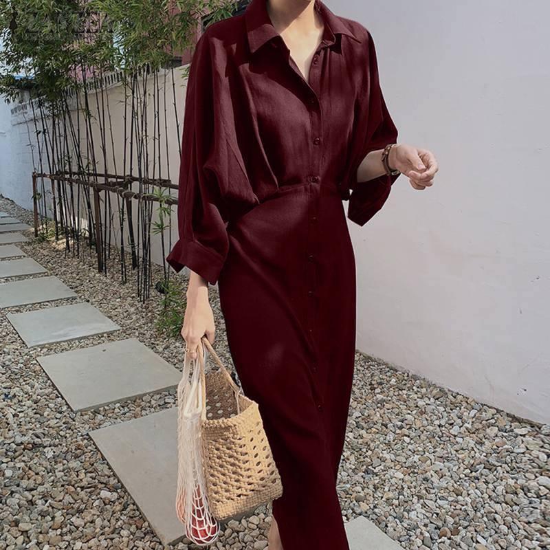 Elegante camicia solida abito da donna Autumn Autumn Sundress Zanzea casual bottone maxi vestidos femmina pizzo in pizzo alto in vita abita sottile sovradimensionata