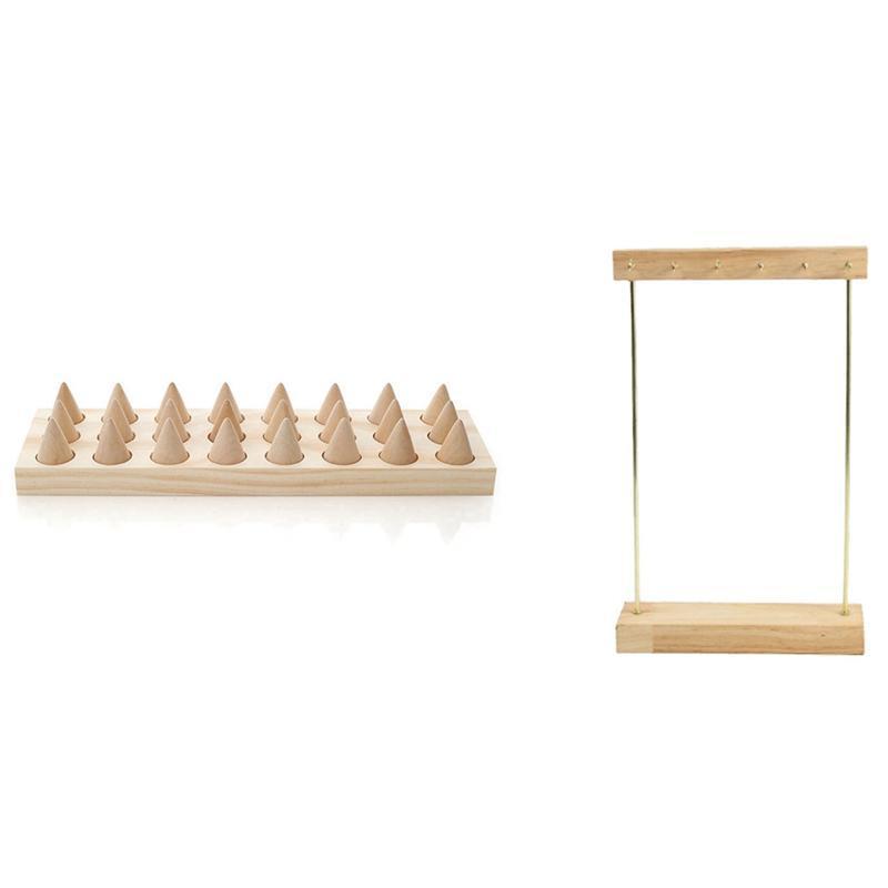 Schmuckbeutel, Taschen 1 stücke Holz Finger Typ 24 Ring Display Tablett Hängende Ohrringe Halsketten Armbänder Lagerregal
