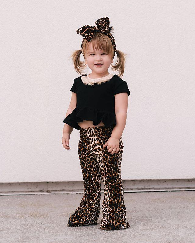 0-3Y Kinder Kleidung Sets Sommer Mädchen Rüschen Kurzarm T Shirts Kid Black Tops + Leopard Flare Pants + Stirnband