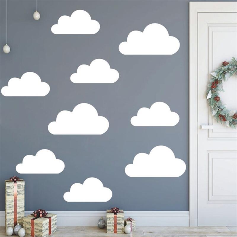 9pcs / set Discalas de vinilo de gran tamaño para niños Decoración de la habitación de bebé Decoración removible Etiqueta de la pared Nublado Murales AZ773 210310