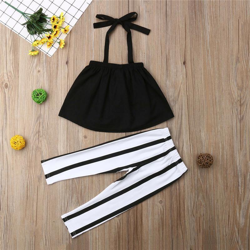 1-6t Mode Sommer Kleidung Mädchen Strap Tops + Gestreifte Hosen Kleinkind Outfits Mädchen Kleidung Sets