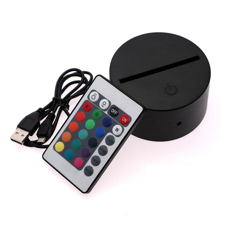 3D Illusion Night Light 3In1 RGB LED Lampe bases Base de rechange Touch Switch pour les lampes de bureau de table 3D 9D Dropshipping