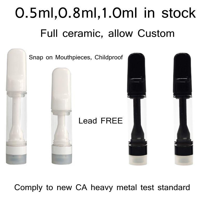 Cartucho de cerâmica completo Delta à prova de criança 8 Atomizadores de Óleo 0.5ml 0.8ml 1.0ml Vape Vape 510 Tanques descartáveis dos EUA