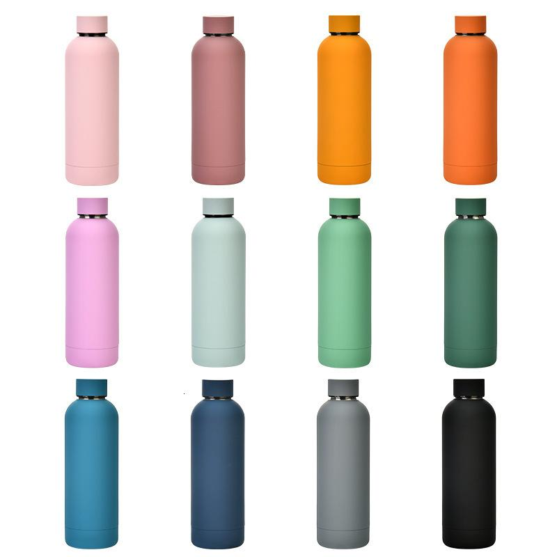 304 Straight Lulu500ml Sports Stainless Steel Outdoor Frosting Portable Water Bottle Thermos Cup