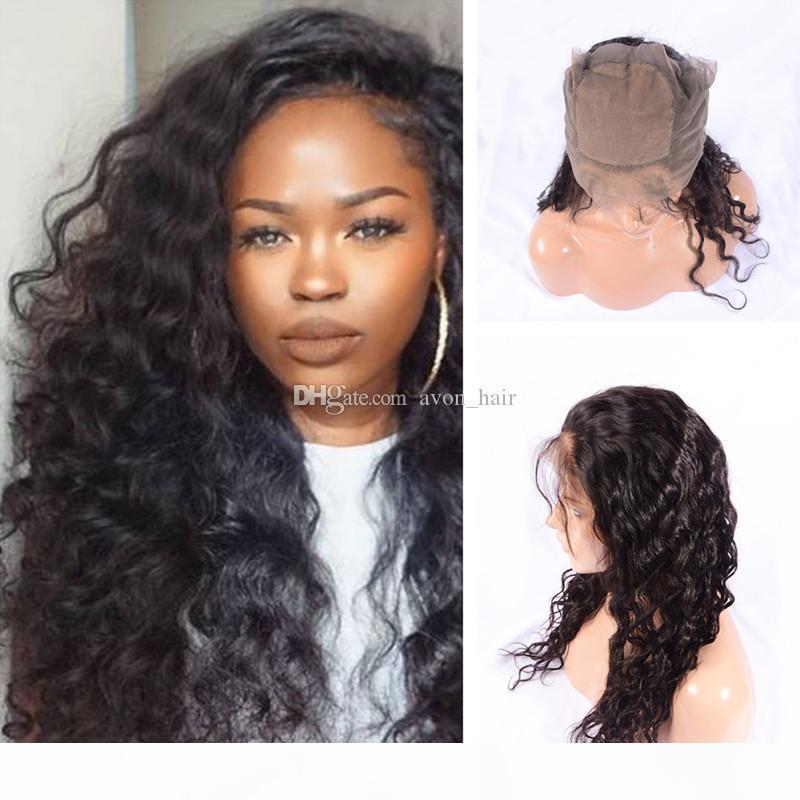 Wave profundo pré arrancado 360 faixa de renda frontal com Baby Hair Silk Base 4x4 360 Lace Band Fechamento frontal 22.5 * 4 * 2 para mulher
