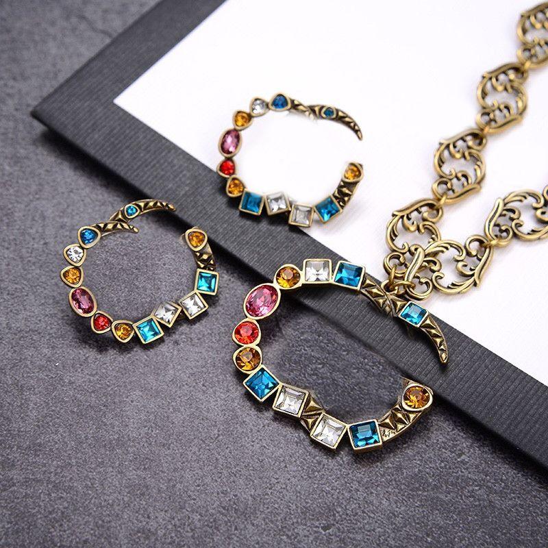 Vintage bunte Diamant Halsketten Ohrringe Doppelbuchstaben Designer Charme Ohrringe Studs Luxuskette Halsketten Frauen Schmuck Sets Großhandel