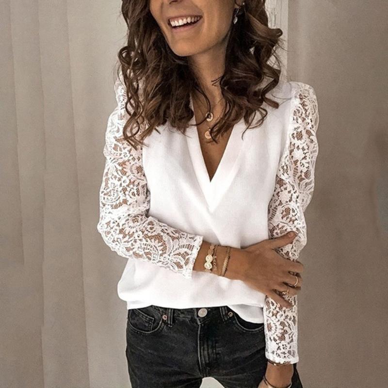 Weiße Spitze Bluse Frauen Mode Massivfarbe Langarmhemd V-Ausschnitt Blusen Hemd Plus Größe 5XL Casual Damen Tops Blusas