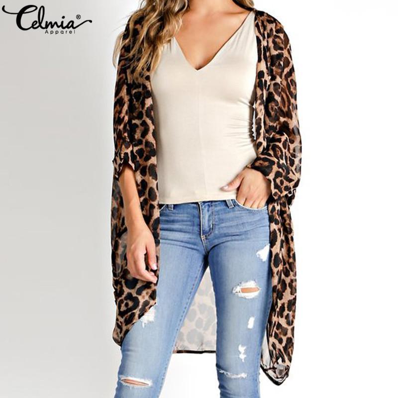 Celmia Vintage Kimono Strickjacke Frauen 2021 Sommertops Lose Leoparden-gedruckte Bluse Beiläufiger Strand-Cover Up Hemd Plus Größe Blusas