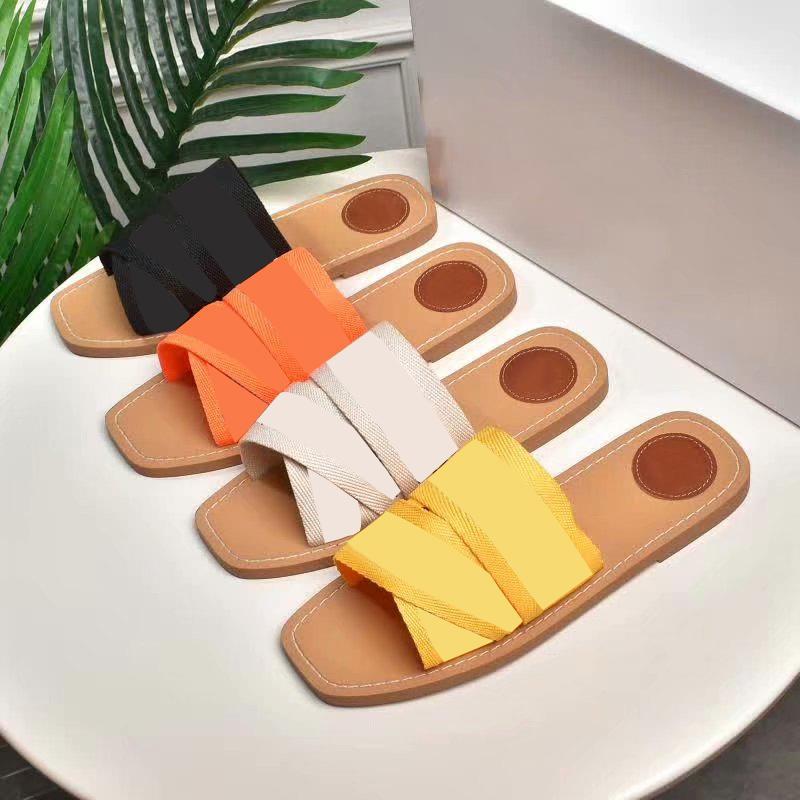 Marka Terlik Yeni Kadın Sandalet Odunsu Katır Düz Terlik Deisgner Lady Yazı Kumaş Açık Deri Sol Sandalet Kutusu Ile Sandal
