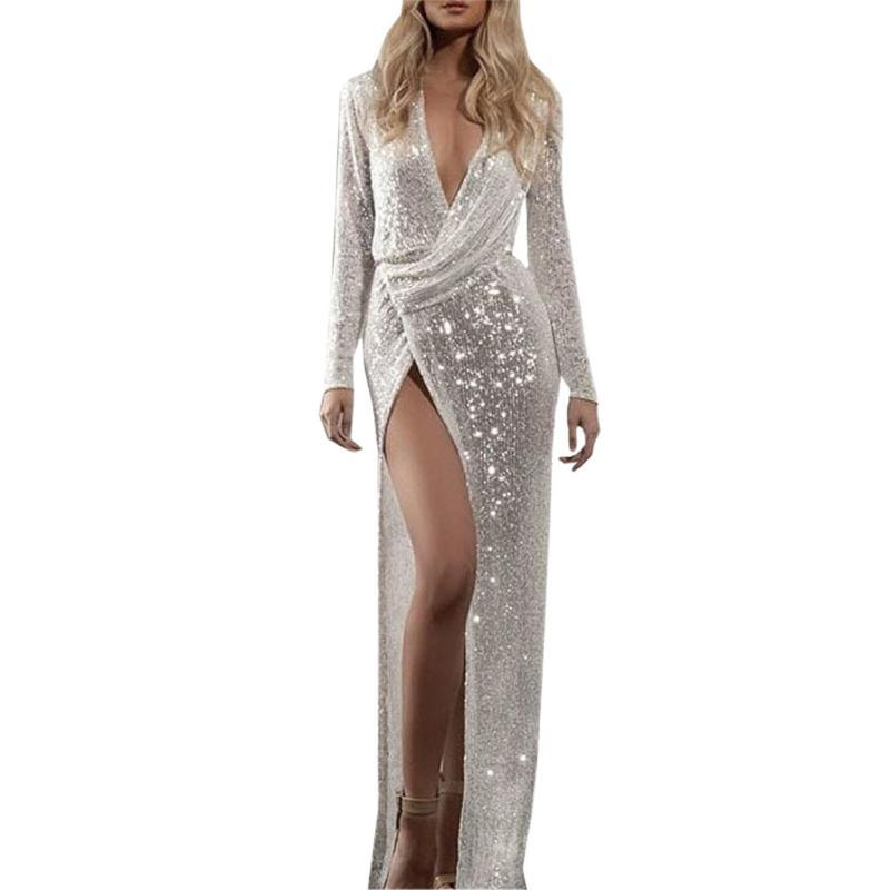 Casual Dresses Home&Nest Sexy Sequin Long Dress Formal Autumn Ball Maxi Hollow Out Hight Split Slim Club Party Vestidos