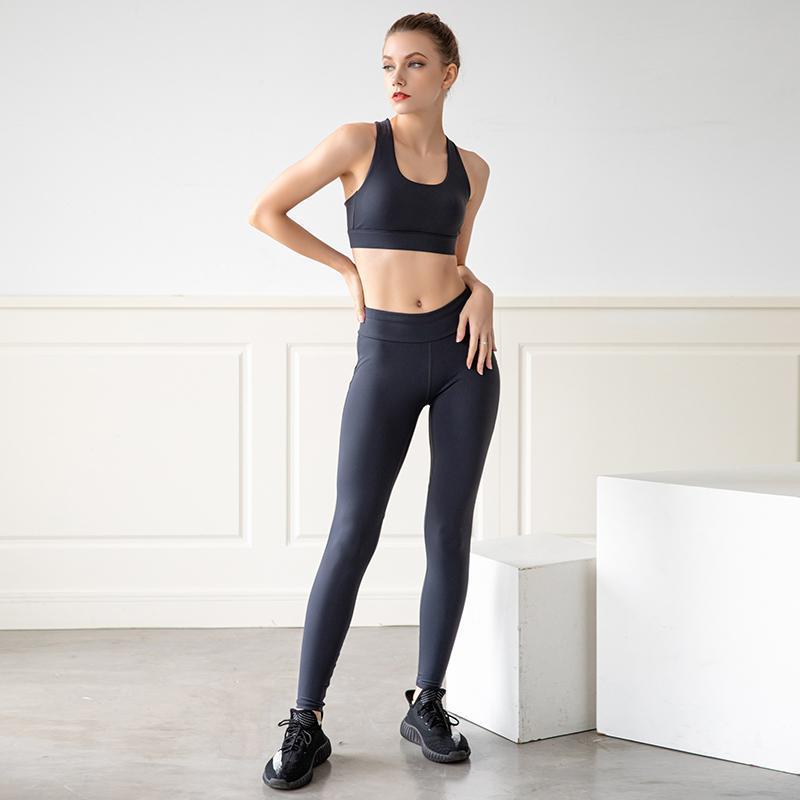 2021 йога набор сексуальных без спинки спортивный бюстгальтер дышащий бесшовные бедра леггинсы 2 шт набор тренажерный зал Одежда тренировки для женщин