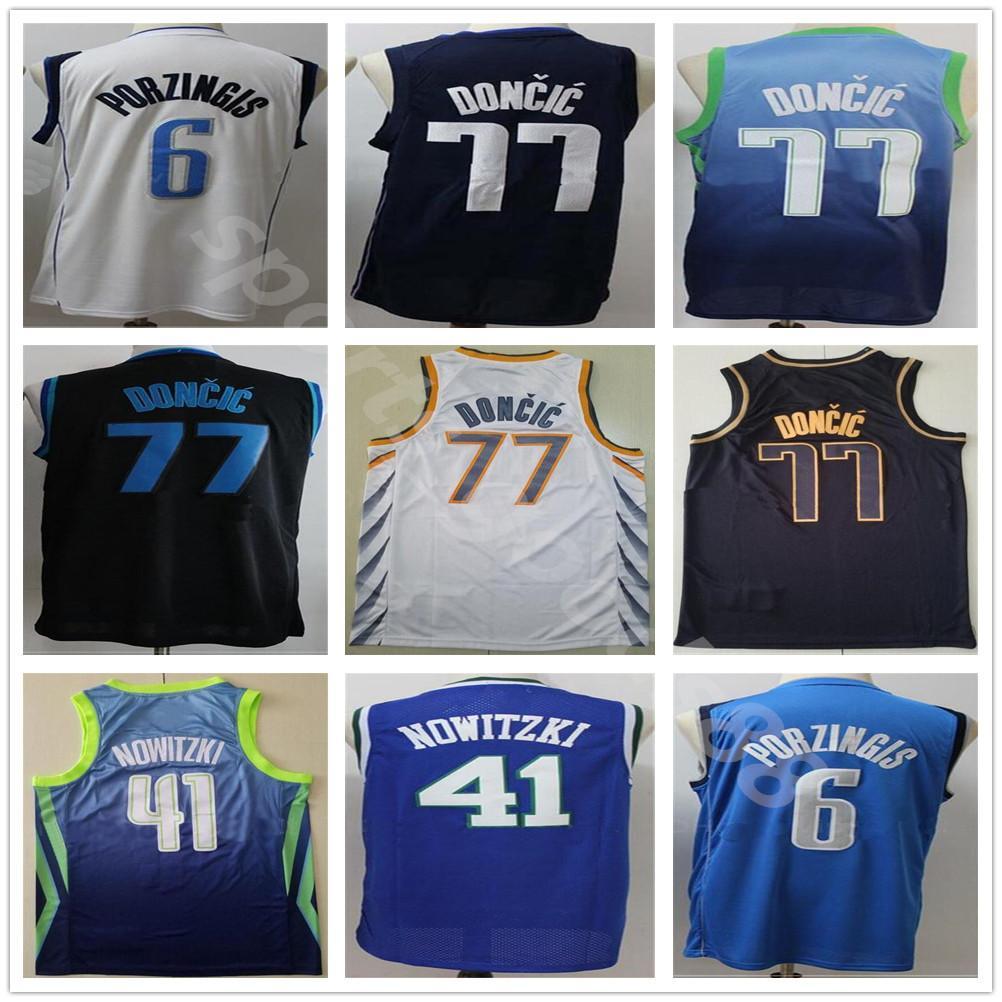 Мужчины Баскетбол Дешевые Лука Долень-Джерси 77 Kristaps Porzingis 6 Dirk Nowitzki 41 издание заработанный город сшитый темно-синий черный белый