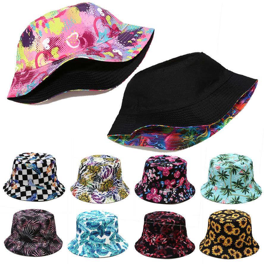 صياد قبعة قبعة للنساء 2021 جديد مصنع طباعة نمط قبعة الإناث الربيع والصيف في الهواء الطلق الشمس حماية الشمس الذكور حوض قبعة GWD5247