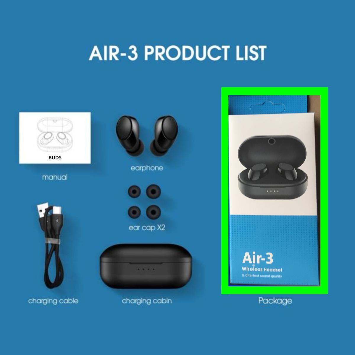 Air-3 Buds TWS سماعات بلوتوث لاسلكية إلغاء الضوضاء سماعة HiFi 3D ستيريو صوت الموسيقى في الأذن سماعة الأذن لجميع سماعات الهاتف الذكي