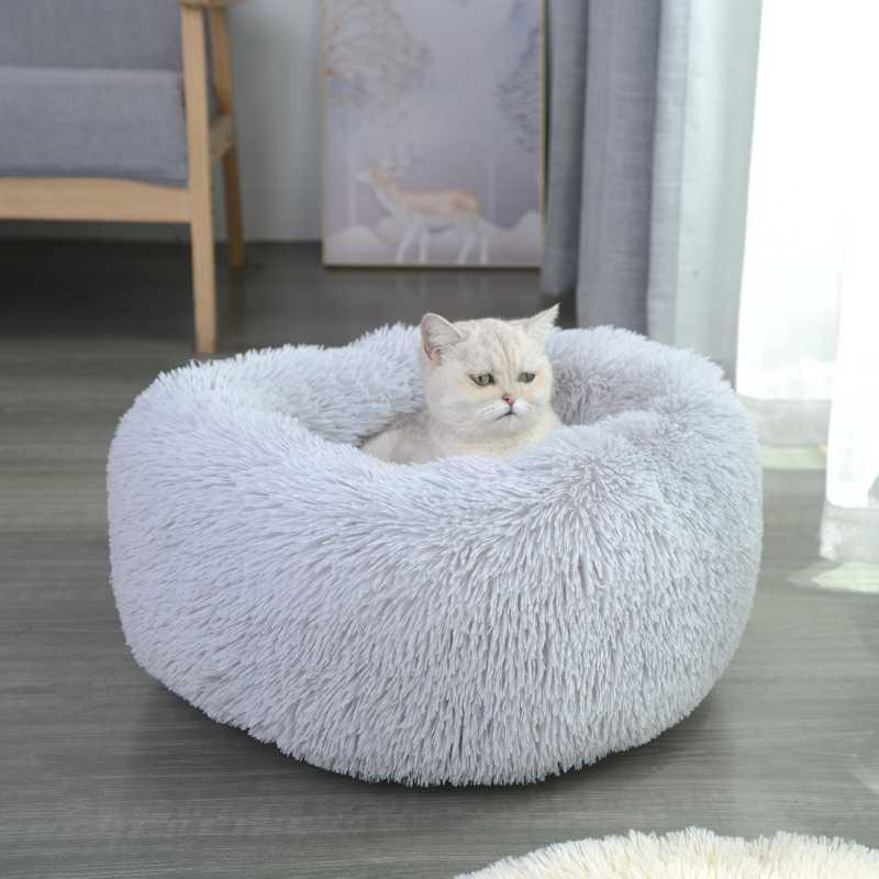 Small Animal Supplies Plush Pet Bed Keep Warm Round Cat Dog Super Soft Lightweight Easy To Carry