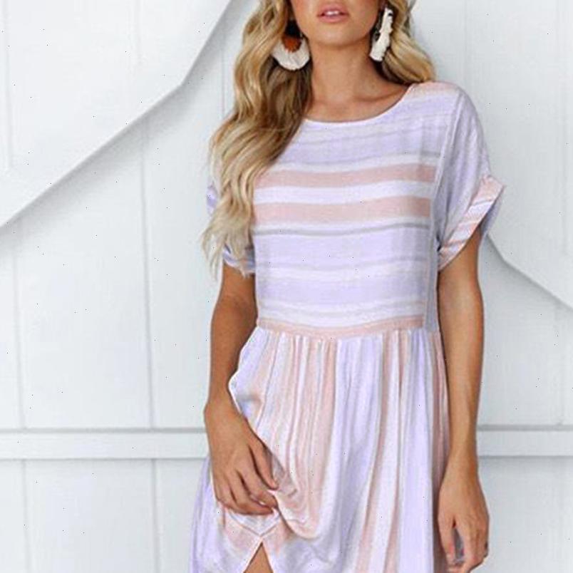 Frauen Streifen Kleid Sommer O Neck Kurzarm Casual Lose Kleider Hohe Qualität Elegante Damen Kleid Jürken ve
