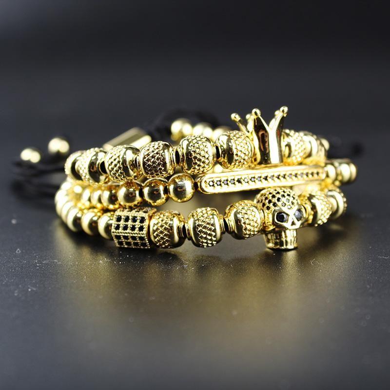 Skull Luxo Royal Homens Pulseira Cobre Gold Crown Bracelets Conjunto para Mulheres Beads Pulseras Hombre Moda Masculina Bileklik Erkek