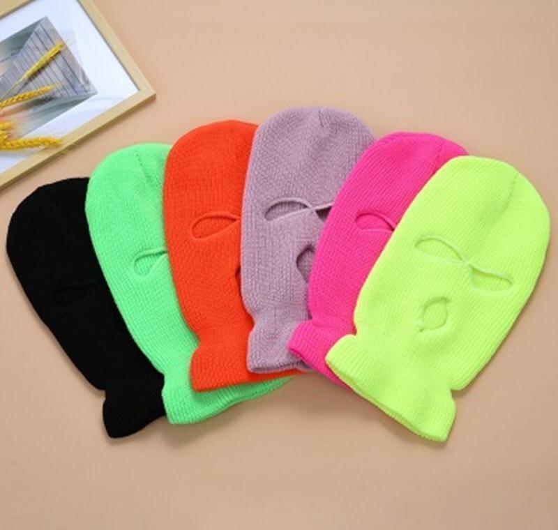 Pure Color Full Face Cover Mask 3 лунка BalaClava вязание зимних лыжных лыжи велосипедная маска теплый шарф на открытом воздухе лицо Jllqiu xjfshop