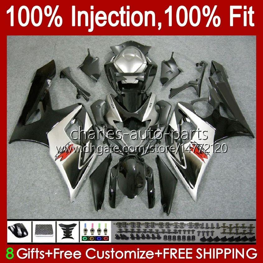 Vücut + SUZUKI GSXR-1000 GSXR 1000 05 06 GSXR 1000 05 GSX-R1000 GSXR1000 05 06 K5 GSX R1000 2005 2006 PERSERING SILVERY BLACK Kiti