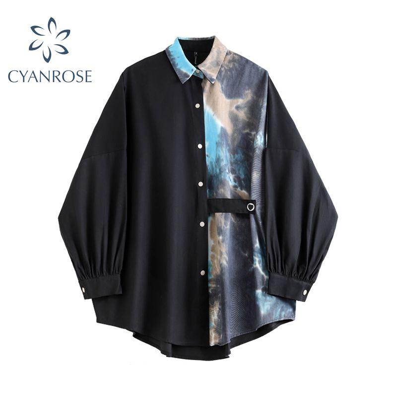 Streetwear manica lunga camicetta da donna camicia patchwork abbassamento del colletto autunno autunno coreano abbigliamento moda casual femminile top 210302