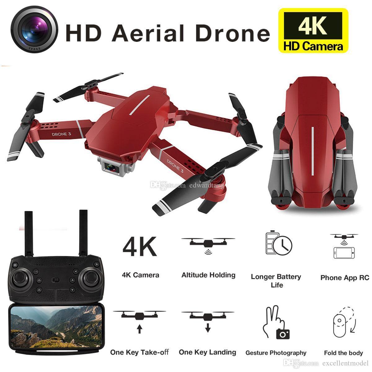 E98 4K HD-Kamera Wifi FPV-Mini-Drohspielzeug, E68-Upgrade-Version, Track-Flug, einstellbare Geschwindigkeit, Geste-Foto-Quadkopter, für Kind-Geschenk, 2-1