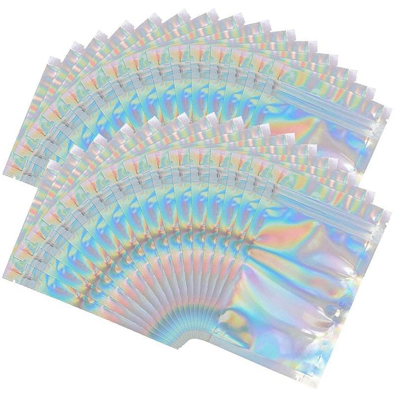 100 шт. Mylar Голографические узорные сумки - 3,3 х 5.1 Сохлопывание пакета - герметичные пакеты тепловой уплотнения для конфет