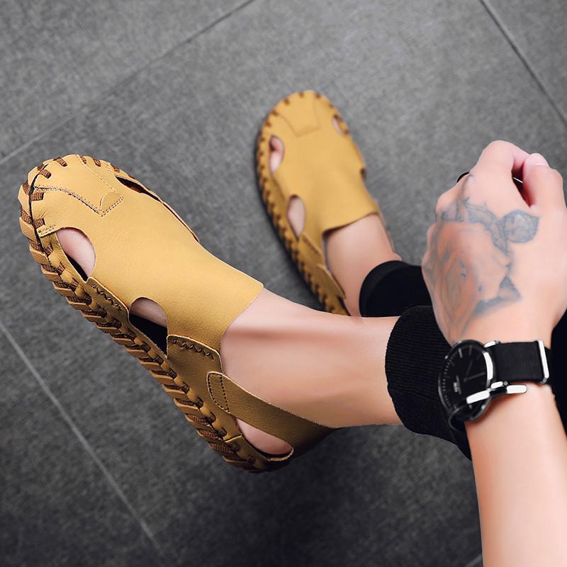 Men Sandals New Summer Fashion Sandals Slippers Breathable Shoes Beach Sandals Four-color handmade mens sandalsl Shoes Big Size