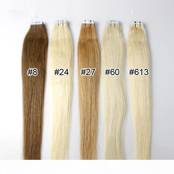2.5G Piece 40 Шт. Лот Бразильские волосы 18-28 дюймов Невидимая кожная лента наращивания волос