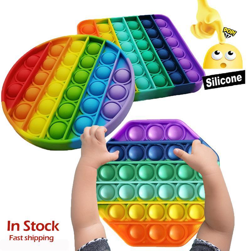 Rainbow Push Bubble Fidget Sensory Toy Push Push Push Pops It Bubble Fidget AntiTistress Giocattoli Adulti Bambini adulti Pops It Fidget Sensory Toy Autism