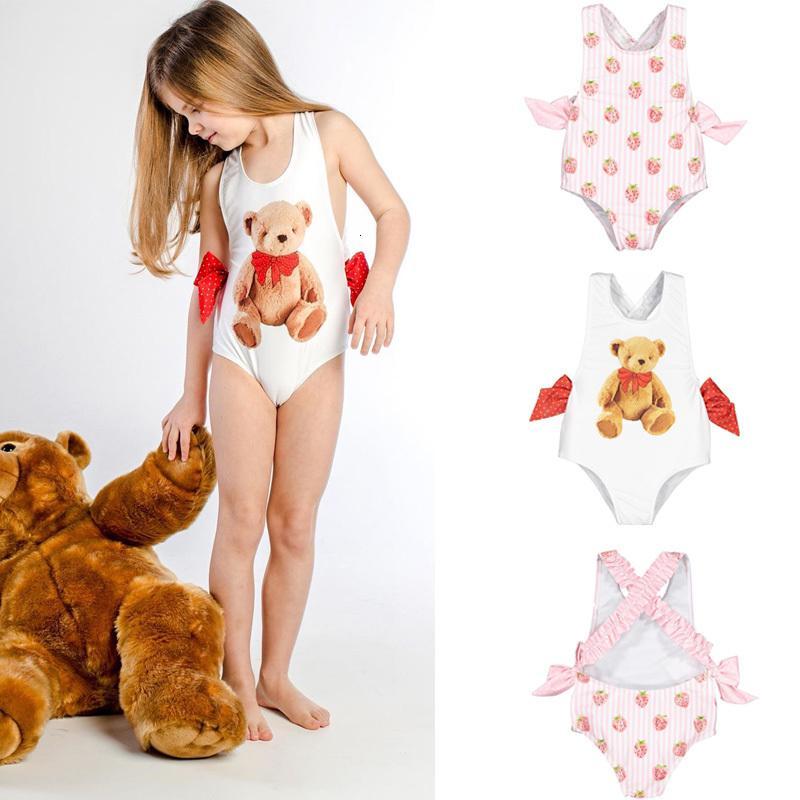 2021 NUEVO NUEVO JUDDLER SWEET NOMBRES Trajes Bebé Hawaii Ropa Niños Chicas Bow Pie Niños Marca Swimsuits Linda niña Traje de baño 5zu