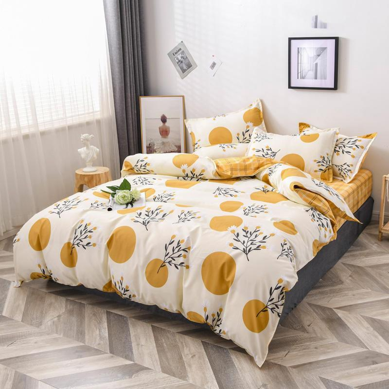 Quilt Cover With Bed Sheet Single/Double/Queen/King Size ropa de cama Flower Style Comforter Bedding Set For Double Bed 220X230 C0223