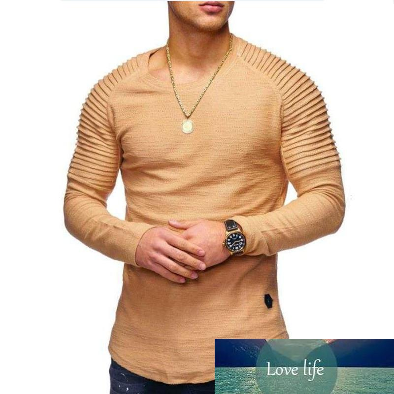 Long Sleeve Pleated Patch Detail Long Sleeve T-Shirt Men's Fashion Solid Color O-Neck T-Shirt Men's Slim Long Sleeve T-Shirt