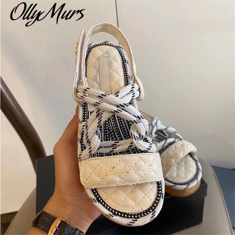 Бренд дизайнер женские сандалии мода летняя обувь женщина плоские сандалии веревка кружев гладиатор Beach Chaussures Femme