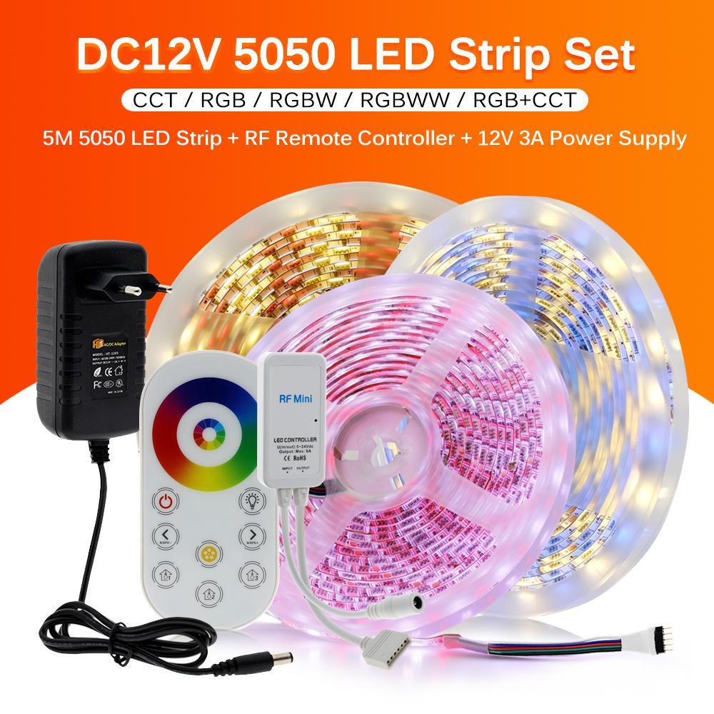 Luz de tira LED 5050 RGB / RGBW / RGBCCT Cinta flexible FIGA LED tira de luz 60LEDS / M 5M + Toque RF REMOTO + DC12V Adaptador enchufe