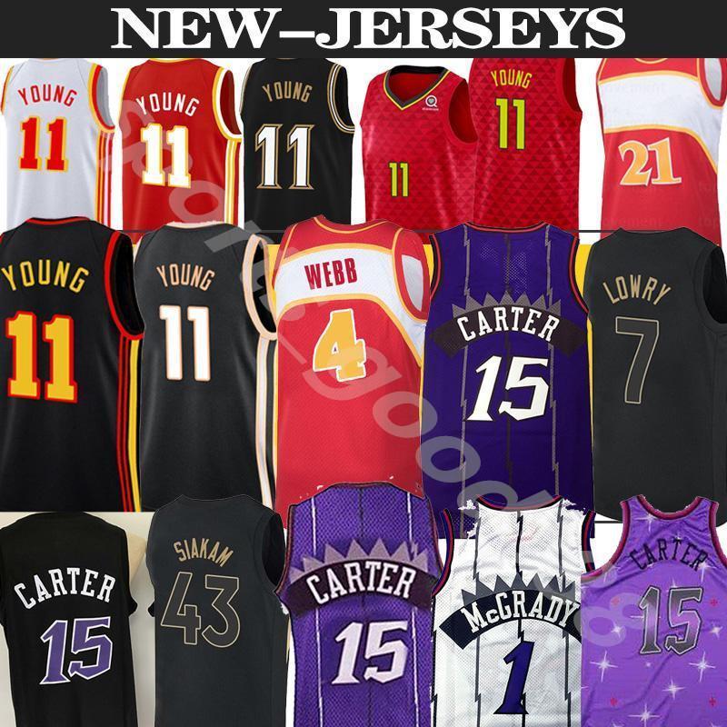 Винс 15 Картер Ретро Трейси 1 McGrady Баскетбол Джерси Мужчины TRAE 11 Young Spud 4 Webb Джетки Новый Баскетбол