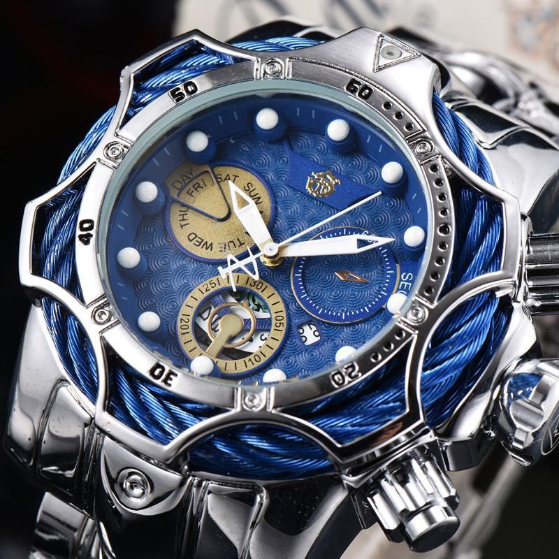 2021 Classic Blue Dial Watch Alle Unterwählscheiben arbeiten normale Männer Sportquartz-Uhr Chronograph Datum Herrengeschenk