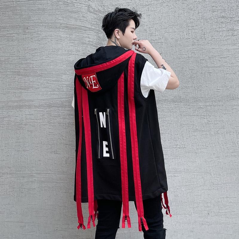 Chalecos para hombres Hombres Primavera y verano Una serie de decoración con capucha Chaleco con capucha Tendencia de moda Chaleco grande