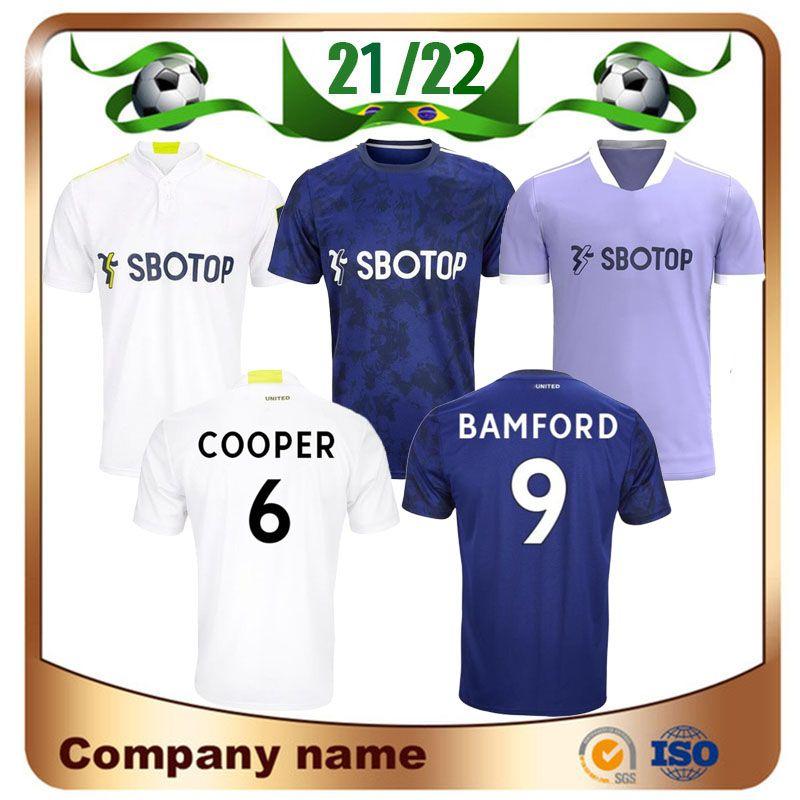 21/22 Leeds United James Soccer Jersey 2021 Home Alioski Cooper T Roberts Jansson Bamford Hernandez Klich Away Maillots Camisas de Futebol Fardos