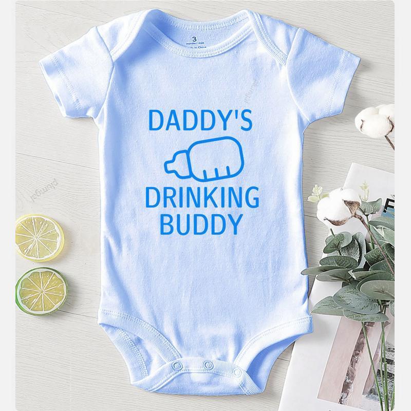 Jumpsuits Daddy's Buddy Brief Gedruckt Born Baby Kleidung Jungen Säuglingsommer Onesis Langarm Outfits Für Mädchen Strampler